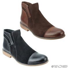 Mens Black Brown Suede Real Leather Italian Style Side Zip Vintage Ankle Boots