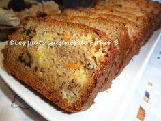 Pain aux carottes et ananas  de Esther b - Ingrédients  1/2 tasse (100 gr) de sucre 1/2 tasse (125 ml) compote de pommes 1/2 tasse (125 ml) d'huile végétale 2 oeufs 1/2 c. à thé (cc) de... Esther, Banana Bread, Biscuits, Muffins, Brunch, Desserts, Food, Carrot Cake Loaf, Crushed Pineapple