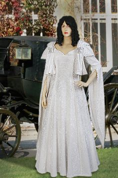 Crushed Velvet Renaissance Dress No. 84 White - 281.00 USD - Medieval and Renaissance Clothing, Handmade by Your Dressmaker