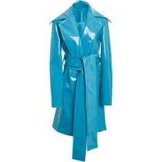 Rubberized Trench | Moda Operandi (46 995 UAH) via Polyvore featuring outerwear, coats, knee length trench coat, rubber coat, rubber trench coat, trench coat и blue coat