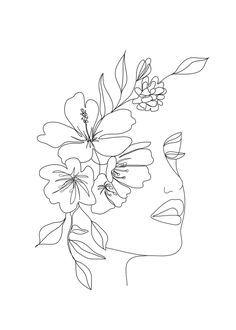 Minimal Line Art Woman Face II Mini Art Print by Nadja