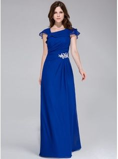 A-Line/Princess Floor-Length Chiffon Evening Dress With Appliques Lace Cascading Ruffles (017028328) - JJsHouse