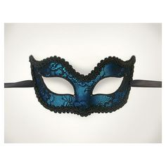 Blue Venetian Mask Decorated With Black Lace And Trim ❤ liked on Polyvore featuring maske