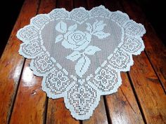 Crochet Large Doily heart  table doily lace home by Handmadesfiopi