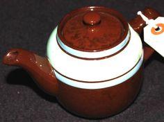 Sadler Fine China Staffordshire Brown with Blue Green Stripes Pattern Vintage Tea Pot TP15