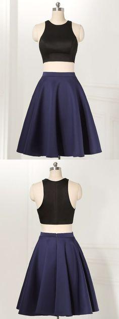 Straight Two Piece Jewel Sleeveless Knee-Length Black Homecoming Dress,YY149
