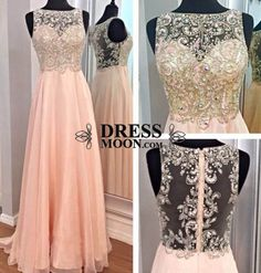 2015 Elegant High Neck Tulle Gorgeous Beading details Long Pink Prom Dress - PROM