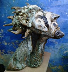stoneware ceramic head sculpture by sylvain bongard Stoneware, Lion Sculpture, Clay, Pottery, Ceramics, Statue, Studio, Gallery, Art