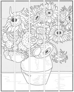 Van Gogh Sunflower diagram - give each kid a square to colour and then assemble afterward. Or . . . do this but give them one to colour however they like, without seeing the original, before showing them the painting and having them do it as they see it. by darla