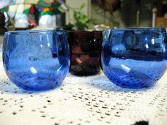 Cobalt and  Purple Vintage Cocktail Glasses by WinterwoodBoutique, $10.00