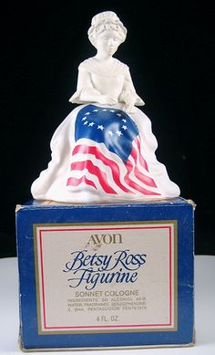 Avon Betsy Ross Figurine. I think she was famous for making the first United States flag.  This was never on sale by Avon UK but it's an interesting tribute to a bit of US history.