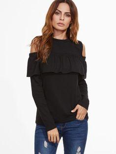 Black Open Shoulder Ruffle T-Shirt