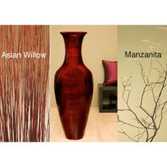 @Overstock - Accent your home decor with a dramatic floor vase Floor vase is handcrafted from natural bamboo and finished in mahogany brown Decorative accessory includes natural California Manzanita branches in dark brown with moss-colored tipshttp://www.overstock.com/Home-Garden/Mahogany-Bamboo-47-inch-Floor-Vase-and-Branches/3281571/product.html?CID=214117 $236.99