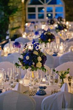 Custom designed art d' la table for your wedding party at Mykonos Grand Beach Resort Blue Wedding Flowers, Wedding Blue, Wedding Day, Royal Blue And Gold, Blue And Silver, Greece Wedding, Outdoor Venues, Mykonos, Deco