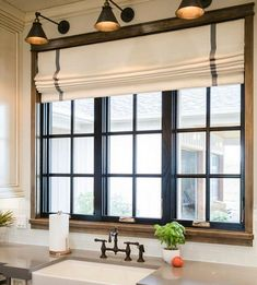 Modern Farmhouse Roman Shades CUSTOM size gray stripe roman shades check kitchen window shades offwhite linen grey trim band gray curtains