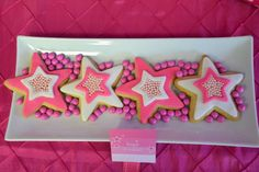 Decorated star cookies at an American Girl birthday party!  See more party planning ideas at CatchMyParty.com!
