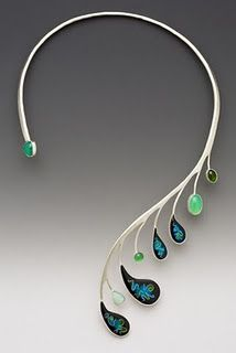 Necklace by Lisa Hawthorne.  Beautiful but, if I were making something similar, I would use gemstone drops and briolettes.  (Note to self - learn to solder!)
