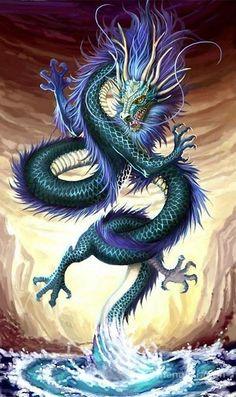Chinese Dragon Square Diamond Painting Chinesischer Drache Square Diamond Painting This image has get Fantasy Kunst, Fantasy Art, Fantasy Creatures, Mythical Creatures, Pfau Tattoo, Water Dragon, Blue Dragon, Sea Dragon, Dragon Ball