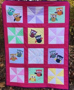 "@AccuQuilt GO! Owl die and GO! Qube 12"" dies for pinwheels make a cute child's quilt like this one! Quick and EASY!"
