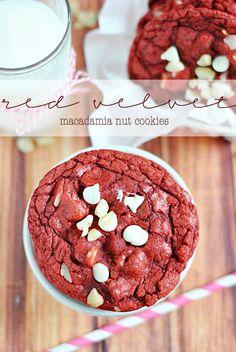 Red Velvet Macadamia Nut Cookies | www.somethingswanky.com @Something Swanky