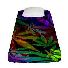 Ganja in rainbow colors, weed pattern, marihujana theme Fitted Sheet (Single Size) Ganja, Bed Sizes, Rainbow Colors, Creative Design, Weed, Duvet Covers, Bedding, Stitch, Artwork