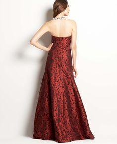 Floral Jacquard Strapless Gown | Ann Taylor