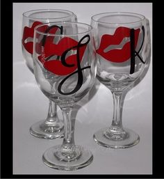 Lips & Initial - custom decorated wine glass