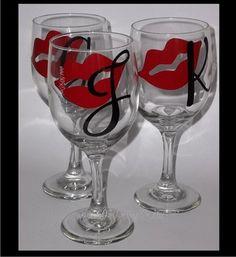 Lips & Initial - custom decorated wine glass