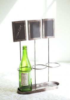 Fun way to display the wine you are serving at dinner or at a party.