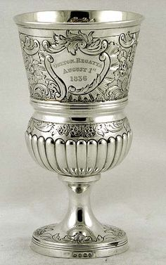 English sterling silver presentation goblet by Robert Hennell, c1807 (supershrink)