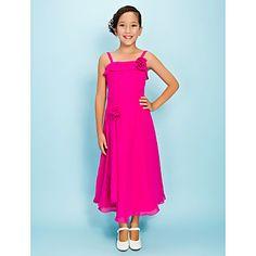 Tea-length Chiffon Junior Bridesmaid Dress - Fuchsia Sheath/Column / A-line Spaghetti Straps – USD $ 69.99
