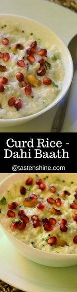 Curd rice or Dahi Baath is an integral part of South Indian cuisine. Curd rice has a lot of health benefits, most important being digestion, as curd rice is easy to digest it works against bloating and indigestion Quick Healthy Meals, Quick Recipes, Baby Food Recipes, Healthy Recipes, Food Festival, Allrecipes, Indian Food Recipes, Festive, Rice