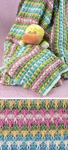 Free knitting pattern for Mirbeau Baby Blanket -   Brenda Lewis designed this slip stitch pattern that looks like little bows to me. 39″ x 41″