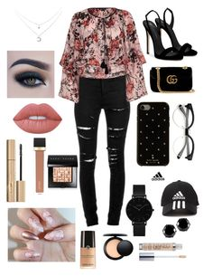 """""""Ooh Roses"""" by haleycookie on Polyvore featuring Yves Saint Laurent, River Island, Giuseppe Zanotti, Gucci, Kate Spade, adidas, CLUSE, West Coast Jewelry, Too Faced Cosmetics and Lime Crime"""