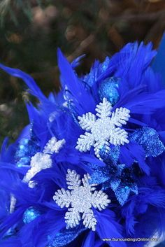 feather and snowflake wedding bouquet
