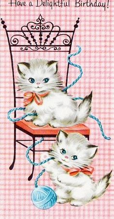 Cute retro kittens on pink gingham birthday card