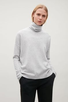 COS image 9 of Roll-neck cashmere jumper in Light grey