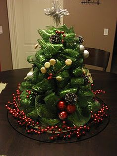A deco mesh mini ribbon tree with