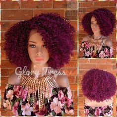 READY To SHIP // Big Kinky Curly Lace Front Wig, Purple Wig, African American Wig, Short Curly Wig, Soft Swiss Lace // FAME Short Curly Wigs, Kinky Curly Wigs, Curly Lace Front Wigs, Afro Wigs, Kinky Curly Hair, Curly Hair Styles, Natural Hair Styles, Purple Wig, African American Hairstyles