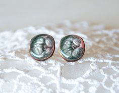 Dark green and pink pearly ear studs wooden by MyPieceOfWood