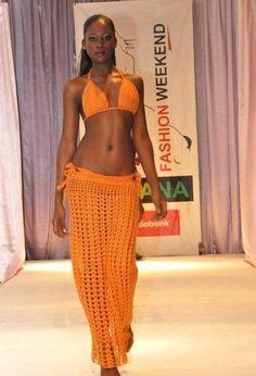Crochet maxi skirt with matching bra