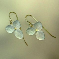 Delicate mixed metal earrings. Sterling and 18k gold Hydrangea Drop by PatrickIrlaJewelry on Etsy
