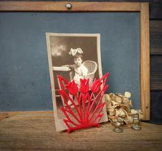 Vintage Lustro Ware Red Plastic Tulip Napkin Holder 1950s Lustroware by Misinterpreted on etsy