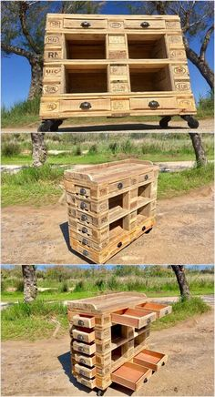 In the options of the wood pallet recycling, wood pallet tables have always stand on top of the list. This pallet table is all set with the services of the drawers that is all placed at the front and side portions of the table. It is giant in shape so make sure that you have a specific place in house for its settlement.