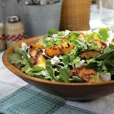 Peach, Arugula and Goat Cheese Salad.
