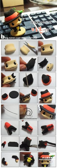 Fimo Reborn, from Hitman Reborn Polymer Clay Dolls, Polymer Clay Projects, Polymer Clay Charms, Polymer Clay Creations, Clay Crafts, Hitman Reborn, Cute Clay, Clay Figurine, Fondant Tutorial
