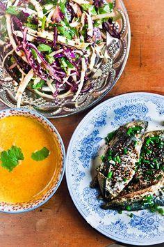 Hemsley & Hemsley Mackerel Salad(fennel, cabbage, cucumber, avocado) With Miso Carrot Dressing