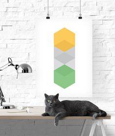 Hexagon Print, Hexagon Poster, Green Hexagon, Geometric Print, Green Geometric, Green Geometric, Hexagon Art, Geometric Art, Hexagon Art
