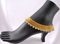 Gold Tone Anklet Polki Payal Bollywood Indian Bridal Wear White Pearl Single Pcs | eBay