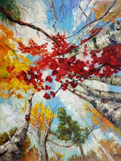 Contemporary Artists of Texas: New Palette Knife Treetop Painting by Contemporary Impressionist Niki Gulley